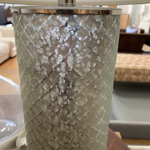 Metal Ethan Allen Lattice Glass Table Lamp With Shade For Sale - Image 7 of 10