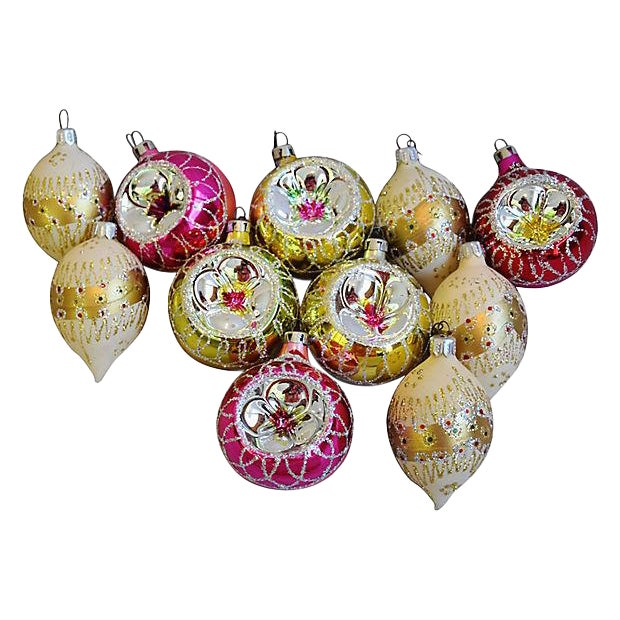 fancy vintage christmas tree ornaments wboxes set of 12 for sale