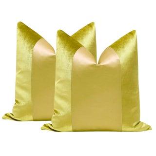 """22"""" Chartreuse Velvet & Silk Panel Pillows - a Pair"""