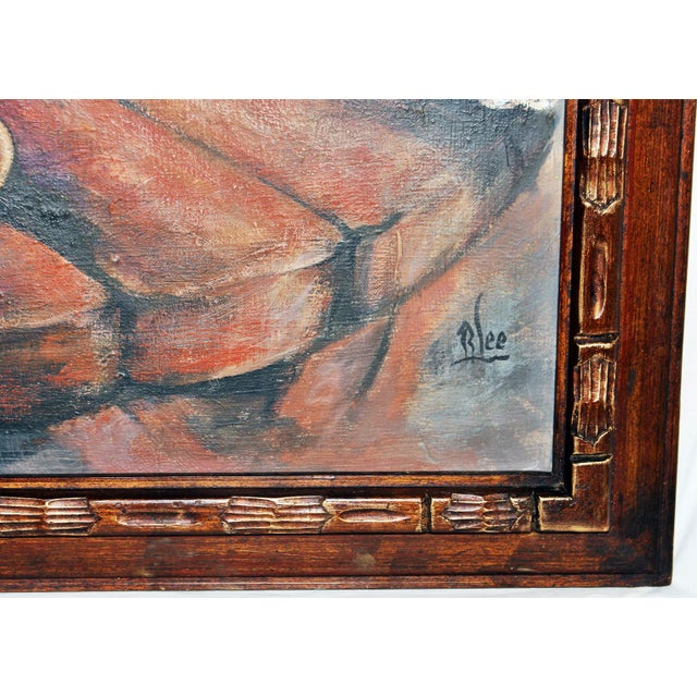 Canvas Midcentury Impressionist Painting For Sale - Image 7 of 11