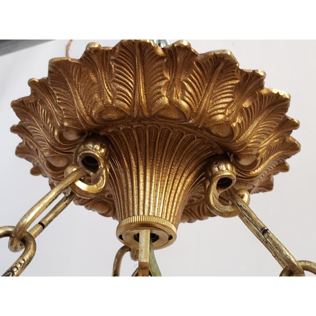 Metal Fine Neoclassical Empire Style Alabaster & Dore Bronze Chandelier For Sale - Image 7 of 12