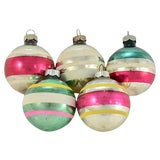 Image of Shiny Brite Banded Glass Ball - Set of 5 For Sale