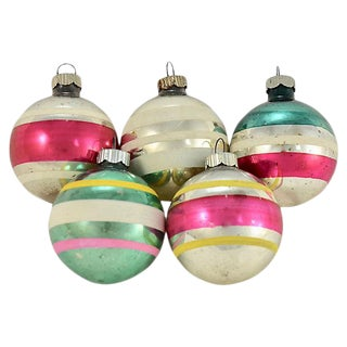 Shiny Brite Banded Glass Ball - Set of 5 For Sale