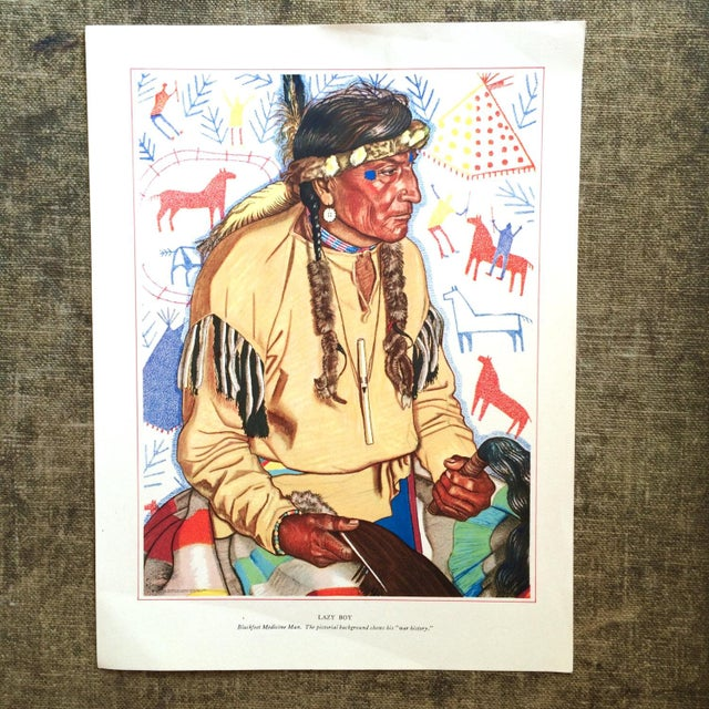 1940s Blackfoot Native American Print by Winold Reiss - Image 2 of 5