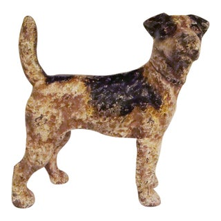 Vintage Cast Iron Airedale Terrier Bank
