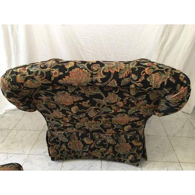 Drexel Heritage Oversized Tufted Chairs & Ottoman For Sale - Image 5 of 11