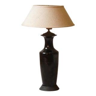 Japanese Black Porcelain Lamp For Sale