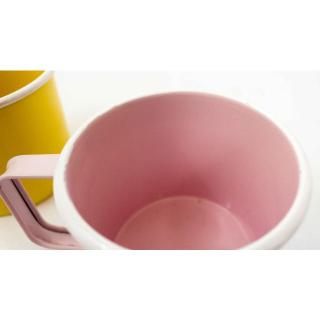 Mid-Century Pastel Enamel Mugs - a Pair For Sale In Dallas - Image 6 of 8