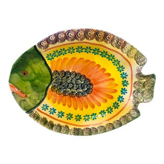 Vintage Italian Pottery Fish Platter For Sale
