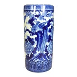 Image of 1970s Vintage Floral & Bird Pattern Blue and White Porcelain Umbrella Stand For Sale