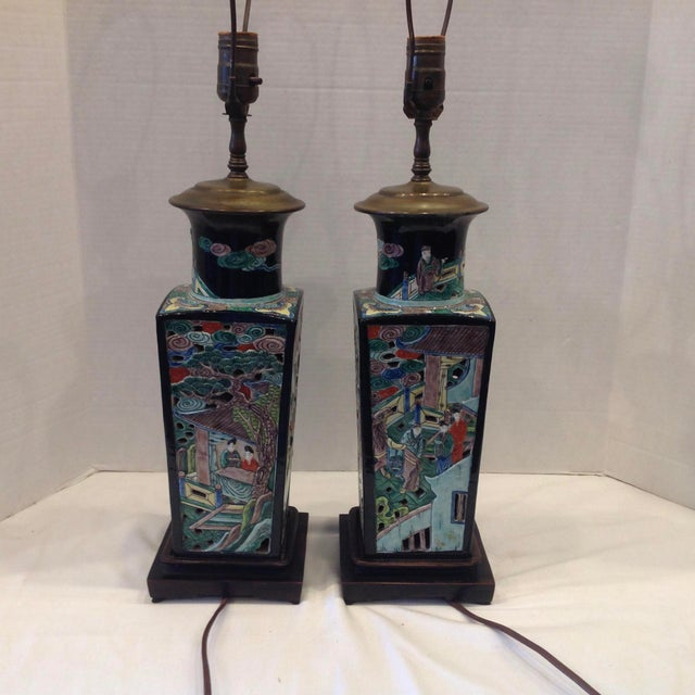 Early 20th Century Famille Noire Chinese Lamps - a Pair For Sale - Image 11 of 13