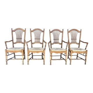 Habersham Plantation Rustic Wheat Back Armchairs - Set of 4 For Sale