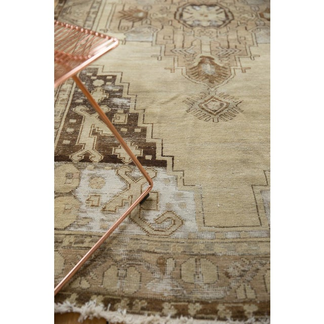 "Beige Vintage Distressed Oushak Rug Runner - 4'9"" x 10'2"" For Sale - Image 8 of 11"