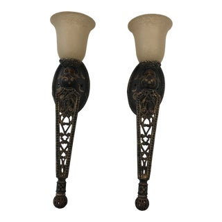 Gold Leaf Wall Sconces - A Pair For Sale