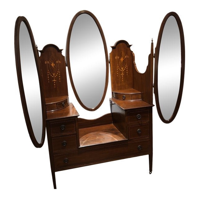 Antique Edwardian Inlay Vanity For Sale