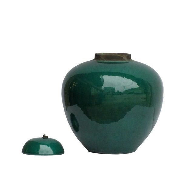 Chinese Teal Green Porcelain Ceramic Fat Jar & Lid - Image 3 of 4