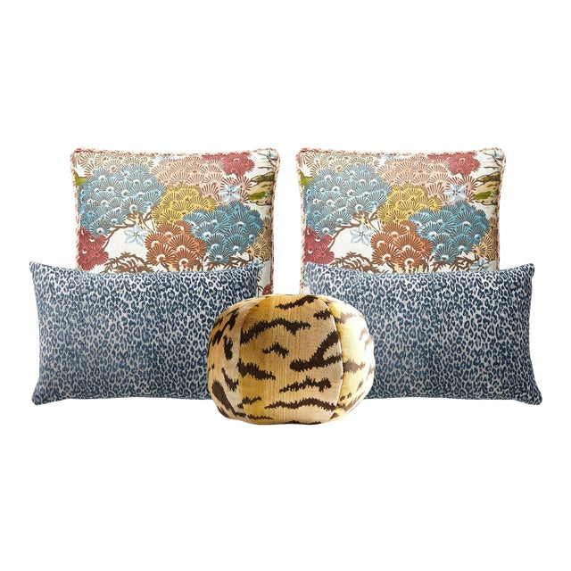 Scalamandre Sunrise Sea of Trees, Blue Leopard, and Tigre Pillow Bundle - Set of 5 For Sale
