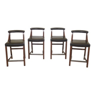 Vintage Bernhardt Leather Seat Bar or High Counter Chairs- Set of 4 For Sale