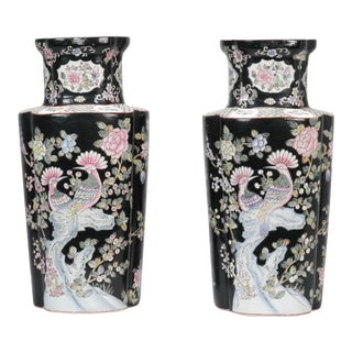 1920s Chinese Tall Black and White Vases - a Pair For Sale
