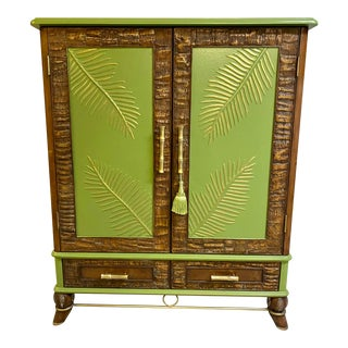 1980s Tropical Green Palm and Bamboo Wardrobe For Sale