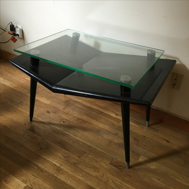 Mid-Century Modern Black Wood & Glass Side Table - Image 2 of 10