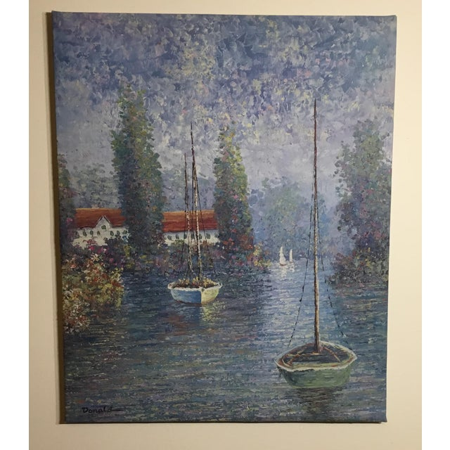 Vintage Sailing Boats on the Lake Oil on Canvas Painting For Sale - Image 11 of 11
