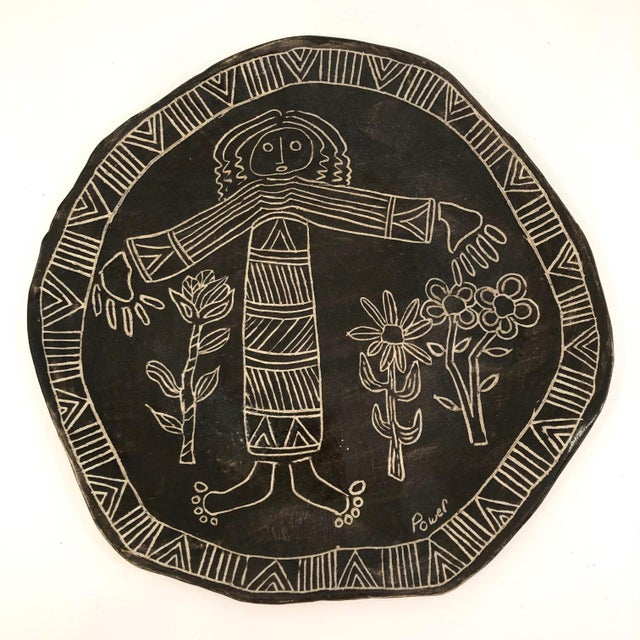 Slab Pottery Plate With Sgraffito Earth Mother and Flowers For Sale - Image 12 of 13