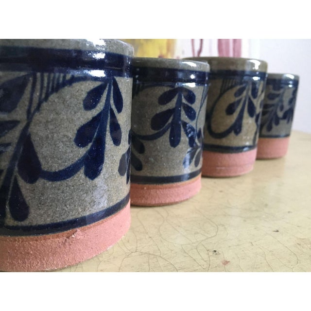 Painted Pottery & Terra Cotta Rocks Glasses - Set of 4 - Image 4 of 8