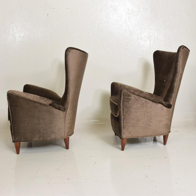 1940s Mid Century Modern Pair of Arm Chairs by Gio Ponti for Bristol Hotel in Merano Italy For Sale - Image 5 of 12