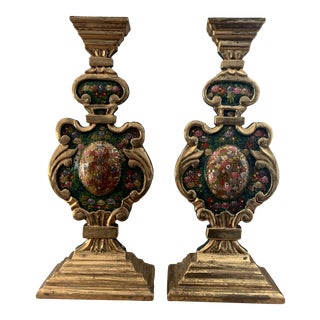 Handpainted Floral and Gold Leaf Fireplace Chenets Stands- Pair For Sale