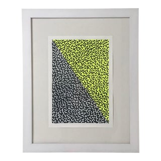 Framed Contemporary Geometric Neon Yellow Painting