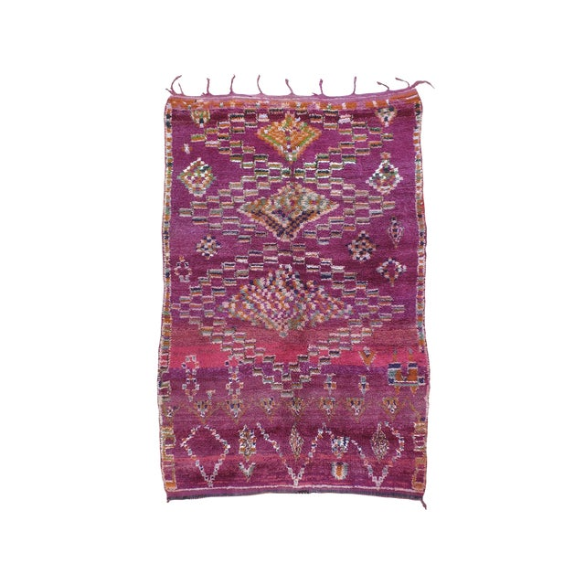 Moroccan Boujad Wool Rug - 6′3″ × 9′4″ For Sale