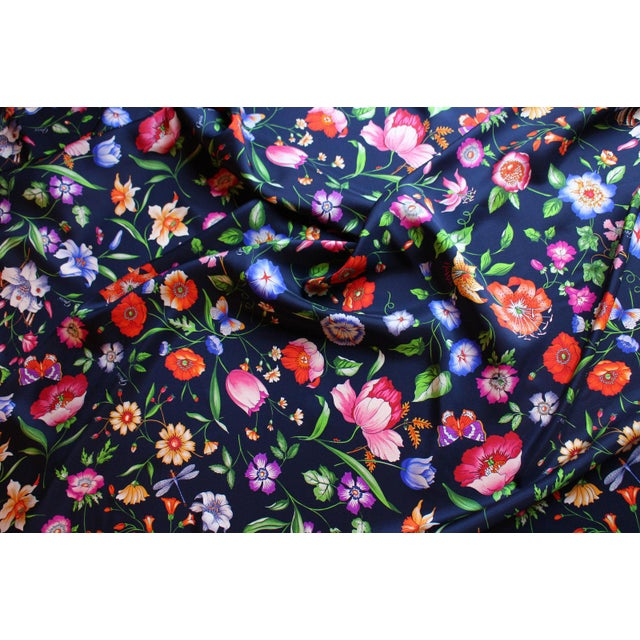 Gucci Navy Floral Silk Fabric For Sale - Image 10 of 13