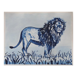 Safari Lion in Bleu by Cleo Plowden For Sale