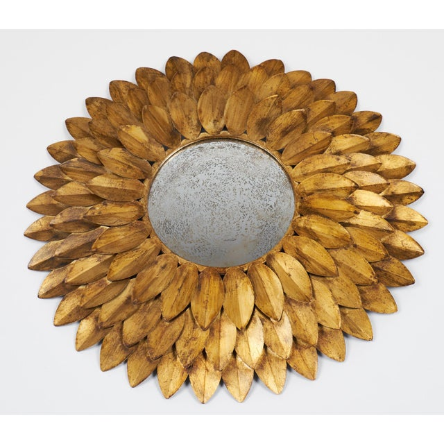 French Vintage Gilt Metal Sunflower Mirror - Image 8 of 8