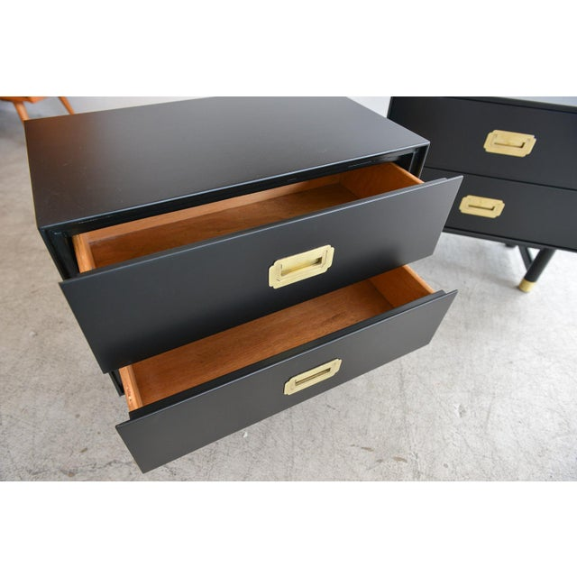 1960s Black Lacquer and Brass Campaign Nightstands - a Pair For Sale - Image 9 of 11