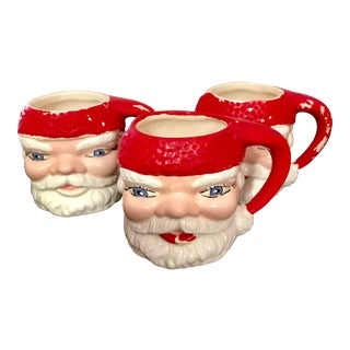 1970s Vintage Santa Ceramic Mugs - Set of 3 For Sale