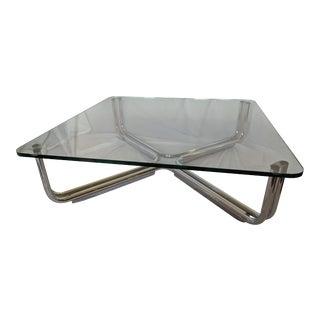 Mid-Century Modern Gianfranco Frattini for Cassina Glass and Tubular Chrome Coffee Table For Sale