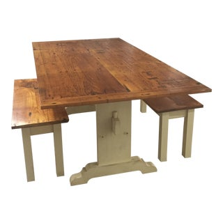 Antique Rustic Pine Trestle W/ Matching Benches - 3 Piece Set For Sale