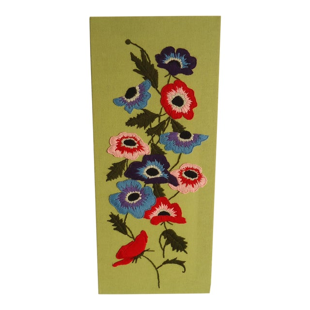 Embroidered Poppy Textile Wall Hanging For Sale