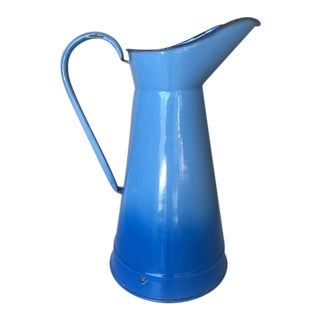 Antique French Large Blue Enameled Pitcher For Sale