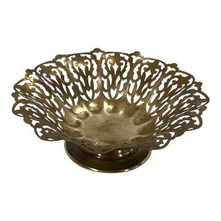 Vintage English Pierced Brass Basket Bowl For Sale