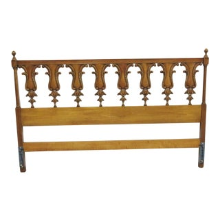 Italian Style Fruitwood Carved Kingsize Headboard For Sale
