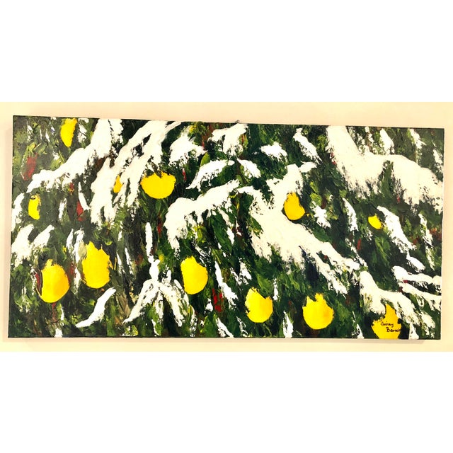 Meyer Lemons in the Snow Acrylic on Stretched Canvas Signed by Artist Framed Green Yellow White For Sale - Image 11 of 11