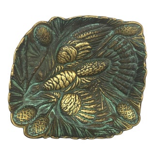 1940s Virginia Metalcrafters Grouse Brass Dish Trinket Tray For Sale
