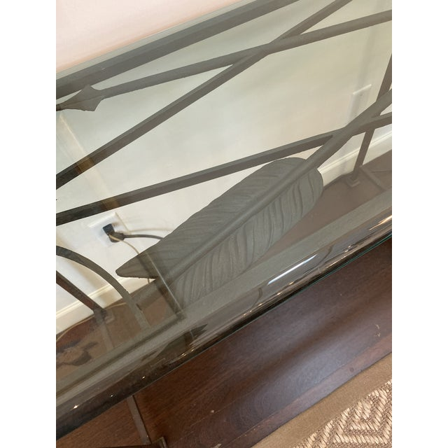 Transitional Iron and Glass Arrow Motif Console For Sale - Image 3 of 12