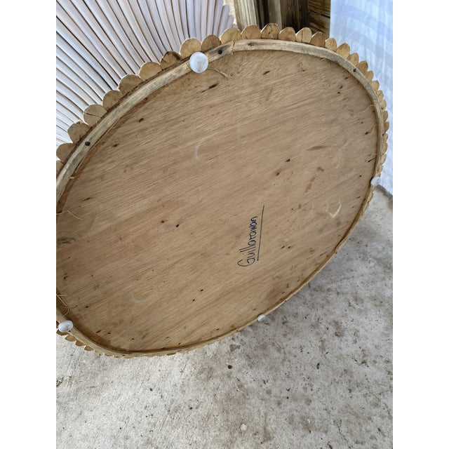 1980s Vintage Rattan Sheaf of Wheat Side Table For Sale - Image 9 of 11
