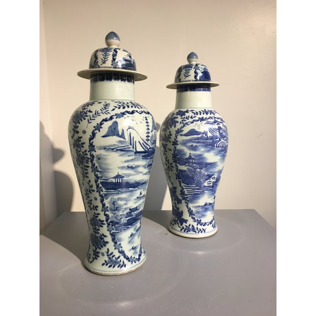 Asian Chinese Tall Blue and White Baluster Covered Porcelain Vases, circa 1900- A Pair For Sale - Image 3 of 8