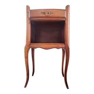 Vintage French Provincial Louis XV Cherry Wood Bedside Table For Sale