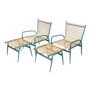 Blue Painted Aluminum Outdoor Chair Ottomans by Troy Sunshade - Set of 4 For Sale
